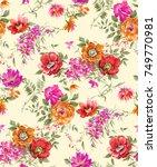 watercolor flower pattern   Shutterstock . vector #749770981