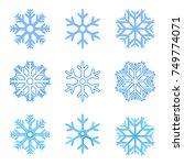 vector set of blue snowflakes... | Shutterstock .eps vector #749774071
