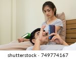 troubled asian couple lovers... | Shutterstock . vector #749774167
