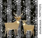 winter design with reindeers... | Shutterstock .eps vector #749774191