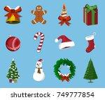 set of  christmas 12 label ... | Shutterstock .eps vector #749777854