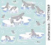 sea lions family lying on...   Shutterstock .eps vector #749779069