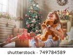 happy holidays  cute little... | Shutterstock . vector #749784589