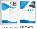 Template vector design for Brochure, AnnualReport, Magazine, Poster, Corporate Presentation, Portfolio, Flyer, infographic, layout modern with blue color size A4, Front and back, Easy to use and edit. | Shutterstock vector #749786779