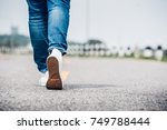 close up woman wear jean and... | Shutterstock . vector #749788444