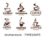 coffee cups line icons for...   Shutterstock .eps vector #749810695