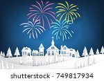 colorful fireworks set on night ... | Shutterstock .eps vector #749817934