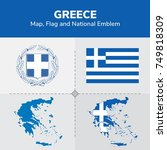 greece map  flag and national... | Shutterstock .eps vector #749818309