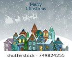 decorated house on happy winter ... | Shutterstock .eps vector #749824255