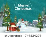 snowman with gift for merry... | Shutterstock .eps vector #749824279