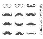 glasses  beard or mustache in... | Shutterstock .eps vector #749824429