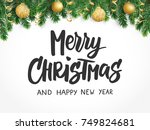 merry christmas text  hand... | Shutterstock .eps vector #749824681