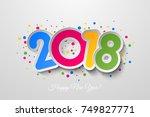 vector 2018 happy new year...   Shutterstock .eps vector #749827771