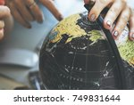 globe world map travel explore... | Shutterstock . vector #749831644