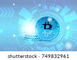 double exposure of bitcoin with ... | Shutterstock . vector #749832961