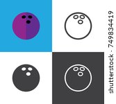 bowling ball icons | Shutterstock .eps vector #749834419