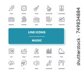 line icons set. music pack....