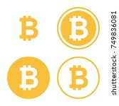 bitcoin icon set. digital... | Shutterstock . vector #749836081