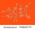 continuous line drawing of four ... | Shutterstock .eps vector #749843779