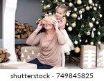 pretty little girl closing eyes ... | Shutterstock . vector #749845825