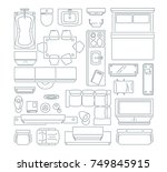 top view of different furniture ... | Shutterstock .eps vector #749845915