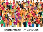 flat illustration of society... | Shutterstock .eps vector #749849005