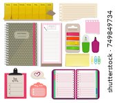 different notebooks  notes ... | Shutterstock .eps vector #749849734