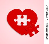 red pieces puzzle of romantic... | Shutterstock .eps vector #749850814