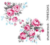 flower bouquet vector roses... | Shutterstock .eps vector #749852641