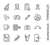 simple set of healthcare... | Shutterstock .eps vector #749858125
