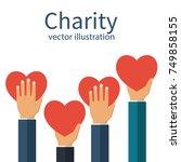 charity concept. donator... | Shutterstock .eps vector #749858155