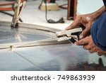 welder is welding stainless... | Shutterstock . vector #749863939