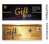 voucher template with gold gift ... | Shutterstock .eps vector #749863954