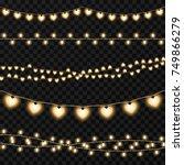 set of garlands on a vector... | Shutterstock .eps vector #749866279