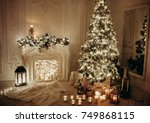 classical interior of a white... | Shutterstock . vector #749868115