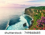 view of uluwatu cliff with...   Shutterstock . vector #749868685
