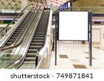 blank billboard near escalator... | Shutterstock . vector #749871841