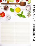 selection of spices herbs and... | Shutterstock . vector #749873611