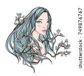 drawing of a beautiful girl... | Shutterstock .eps vector #749876767