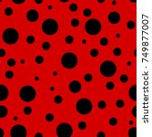 Ladybug pattern. Seamless vector. Seamless with red background and black spots