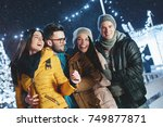 young people outdoors having... | Shutterstock . vector #749877871