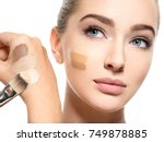 beautiful face of  young woman... | Shutterstock . vector #749878885
