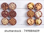 mix of snacks   pretzels  ... | Shutterstock . vector #749884609