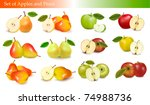 big set of fresh pears and... | Shutterstock .eps vector #74988736