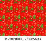seamless christmas patterns.... | Shutterstock .eps vector #749892361