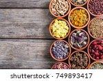 nature medicine . mix of herbs... | Shutterstock . vector #749893417