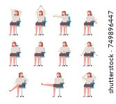 stretching guide character for... | Shutterstock .eps vector #749896447