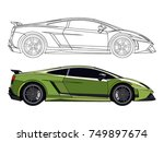 detailed side of a flat green... | Shutterstock .eps vector #749897674