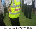 Small photo of Fire warden man in the training of emergency fire drill