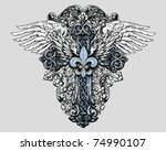 fleur de lis cross with wings | Shutterstock .eps vector #74990107